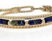 Lapis Clasp Bracelet, Custom sizing, 12 Karat Wire, AAA quality Lapis, Handmade, Brides gift, Brides maids, Western Wedding,