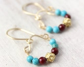 RESERVED - Turquoise and Red Jade Gold Mini Hoop Earrings