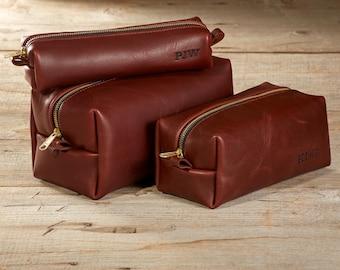 English Chestnut Leather Dopp Kit - 3 Sizes