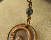 Claddagh Wax Seal Charm Pendant, Copper and Kilkenny Black Marble,  Irish Celtic Jewelry, Necklace