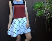 Overall Dress Spicy Toast red grid jumper
