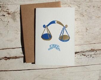 Libra zodiac letterpress linocut card