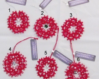 Hand-Tatted Red Wreath Ornaments with Swarovski Crystals - WG5