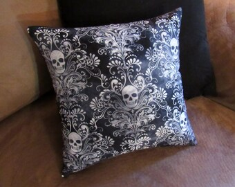 Damask Skull - 12x12 Pillow - with pillow form - Skulls - Black - Blue - White - Gothic - Dark - Accent Pillow - Handmade - Damask