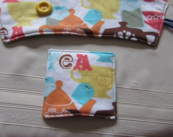 Tea Cup Sleeve with Matching Coaster Insulated Batting Tea Cup Print Fabricp