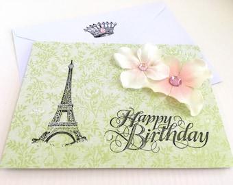 Eiffel Tower Birthday Card.Paris Birthday Card.Handmade Card.Blank.Happy Birthday Card.Handmade Birthday Card.French Style.Vintage Style