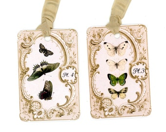 Butterfly Gift Tags , Green Butterflies , Vintage Butterflies , Elegant Butterfly Tags , Cream Butterfly , Butterfly Plates , Green and Tan