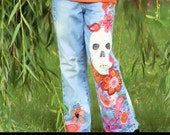 Hand Painted Sugar Skull Calaveras Day of the Dead denim jeans for GIRLS DOTD Cinco de Mayo
