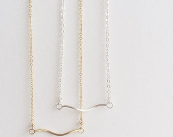 Wisp Necklace in Gold or Sterling Silver // Delicate Feminine Layering Jewelry // Choker Length Minimalist Gift for Her