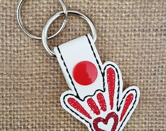 SALE - Embroidered Key Chain - I Love You Sign Language