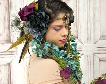 Mucha Inspired Headdress, Woodland Headdress, Green, Purple, Blue, Gypsy, Tribal, Floral Headpiece, Flower Crown, Circlet, Costume Headpiece