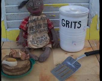 Primitive doll, folk art, black  With Pancakes, Eggs and Bacon
