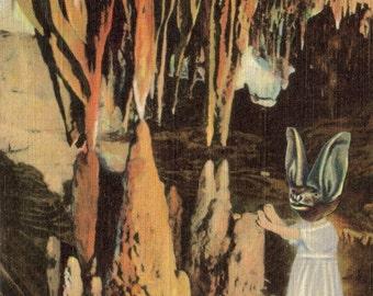 Anthropomorphic Bat Artwork Original Collage on Paper Gothic Bat Cave Virginia Postcard Cute Bat Art Animal Oddity