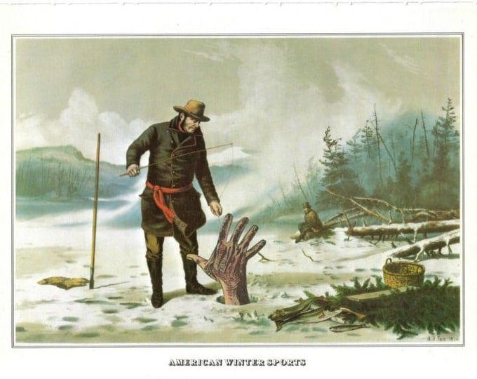 Creepy Horror Art Collage, Ice Fishing Artwork