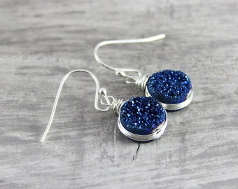 Blue Druzy Earrings, Wire Wrap Earrings, Sterling Silver Earrings, Druzy Gemstone Earrings, Dark Blue Earrings, Small Dangle Earrings
