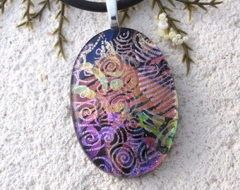Pink Purple Gold Black Necklace, Dichroic Glass Jewelry, Oval Necklace, Dichroic Pendant, Fused Glass Jewelry, Silver Chain, 072115p106