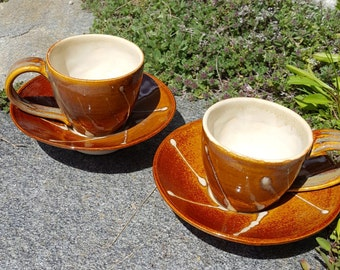 Set of Two Espresso Cups and Saucers with Starburst Design