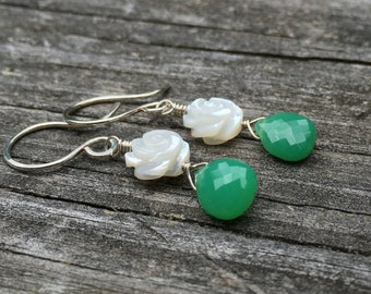 White Mother of Pearl Carved Flower, Green Chrysoprase, Sterling Silver, Dangle Earring, French Wire Hook, Genuine Gemstone, Green White