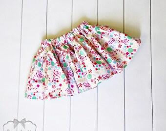 Christmas Skirt - Girl Twirl Skirt - Infant Christmas Candy - Pink Tween Skirt - Christmas Toddler Cotton Fabric 6 month to Girl 16