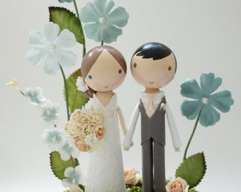 custom wedding cake topper with wood slab whimsy garden