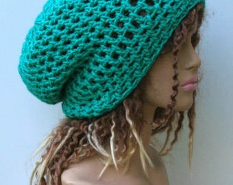 Emerald green slouchy hat, sock dread Tam, Slouchy Beanie, Hippie Bohemian hat, snood slouch hat, baggy beanie, woman beanie, man hat, dread