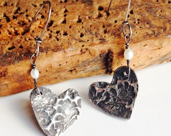 Etsy, Etsy Jewelry, Heart Earrings, PMC Earrings, Fine Silver, Freshwater Pearls, Valentine Earrings