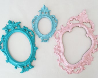 TRIO Ornate Vintage Picture Frames Upcycled Wall Decor Pink Aqua Seaside