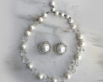 Vintage Necklace and Earrings, 1950's, Marvella, Clear Glass and Faux Pearl Beads, Choker, Button Earrings, Clip on Earrings