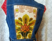 Re-Rocked Denim Vest SMALL-MEDIUM 100% upcycled,re-work, vintage, 60's motif, citrus color, handmade, outerwear, one of a kind, eco friendly
