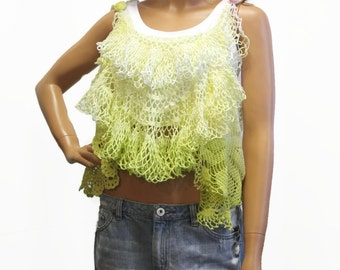 Womens Festival Clothing, Crochet Doily Top, Boho Chic Fairy Style Top, Hippie Clothes