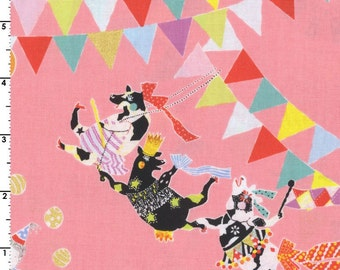 HALF YARD - Sas and Yosh - Circus of Wonders on Pink - Cow, Tiger, Acrobat - Kokka - Cotton Sheeting
