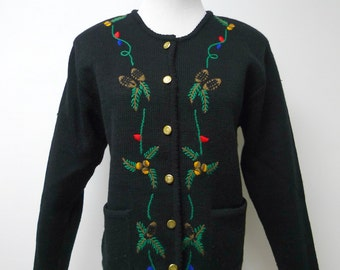 "Tally-Ho Creation . fall and winter black sweater / cardigan . medium . 37"" bust"