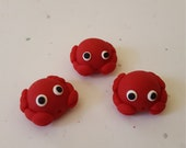 Crab Beads/ Set Of Three 14mm Polymer Clay Handmade Red Crabs/ Jewelry Supplies/ Beads/ Sea Animal Beads/ Crafts/ Beading