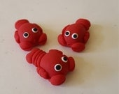 Lobster Beads/ Set Of Three 20mm Polymer Clay Handmade Red Lobsters/ Jewelry Supplies/ Beads/ Sea Animal Beads/ Crafts/ Beading