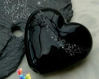 Lampwork Bead Silver Stardust Trail Heart