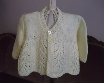 Hand Knit Vintage Style Baby Matinee Coat Sweater