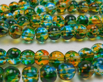 60 Blue, Yellow and Green Glass Beads 6MM round beads (H2086)