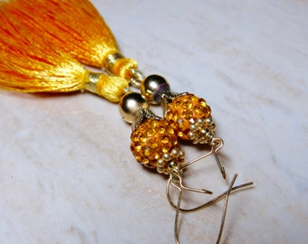 Yellow Orange Pave Crystal Gold Tassel Earrings