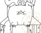 Digi Stamp Instant Download. Tommy Time Out - Knitty Kitty Digis No. 38