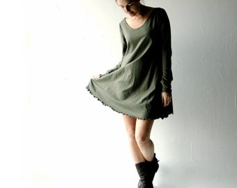 Tunic dress, Sweater dress, Green dress, Cotton dress, maternity dress, Long sleeve dress, Boho dress, Plus size clothing, Women clothes