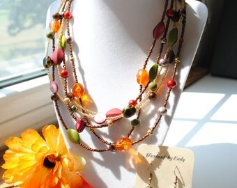Fall Colors Beaded Necklace and Earring Set