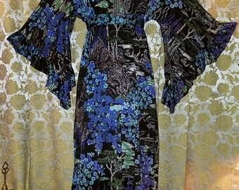 Vintage 1970's Black Purple Blue Kimono Dress Angel Sleeves, Small Medium
