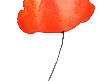 "Watercolor poppy flower art print: ""Orange Poppy"""