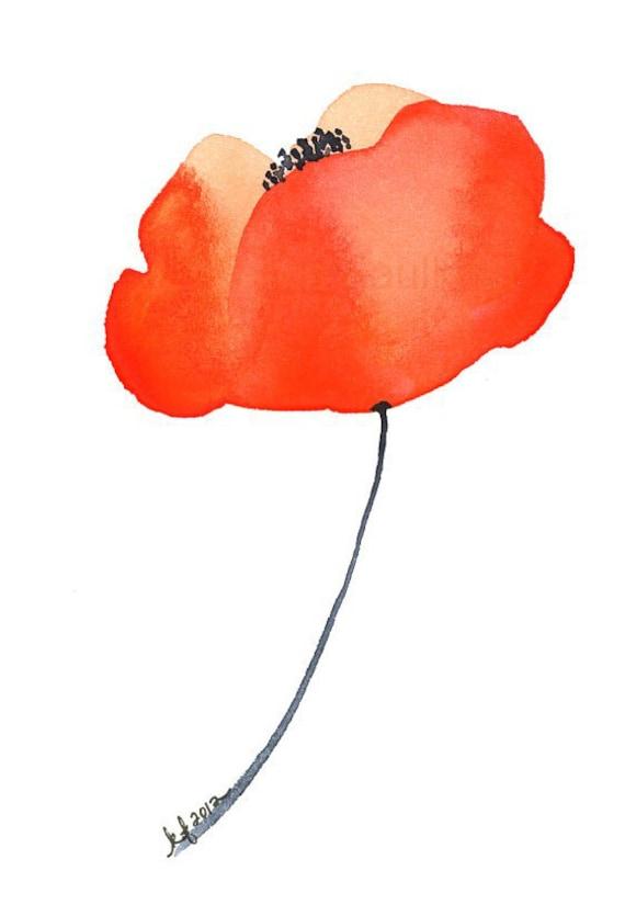 "Watercolor poppy flower art print: ""Orange Poppy"""