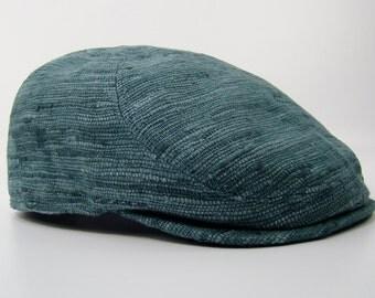 RTS 6-Panel Handmade Flat Cap Driving Cap for Men in Azure Blue Silk Matka - Raw Silk
