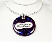 Infinity Sparkle Surly Necklace with Swarovski Crystals in Purple