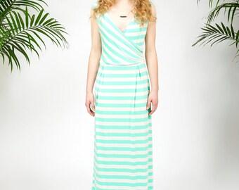 Catalina maxi dress in mint stripes