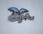 Sale Blue Dragon Blanket Lightweight Embroidery Fleece ON SALE