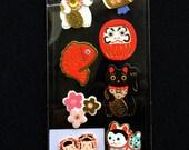 Japanese Style Craft Stickers - Traditional Japanese Stickers - Maneki Neko Lucky Cat - Dharma Doll - Lucky Fish - Blossoms - Kokeshi   S31