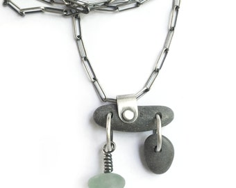 Sterling Silver Kinetic Lake Erie Beach Stone Beach Glass Seaglass Necklace